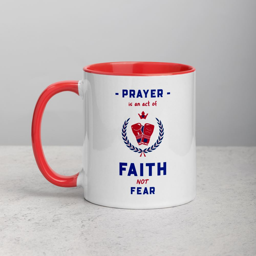 Prayer Is An Act Of Faith_Boxin - Mug Trini-T Ministries Red
