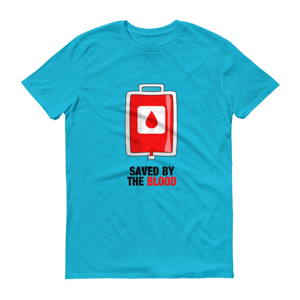Saved By The Blood - Men's T Trini-T Ministry Caribbean Blue S