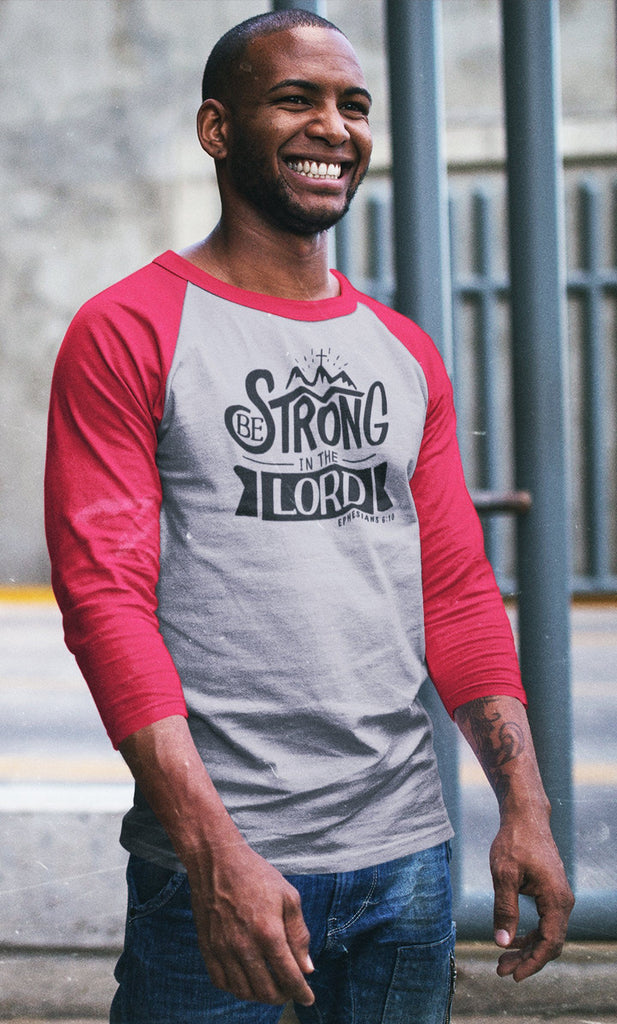 Trini-T - Be Strong In The Lord - Men's Raglan T T-Shirt Trini-T Ministries
