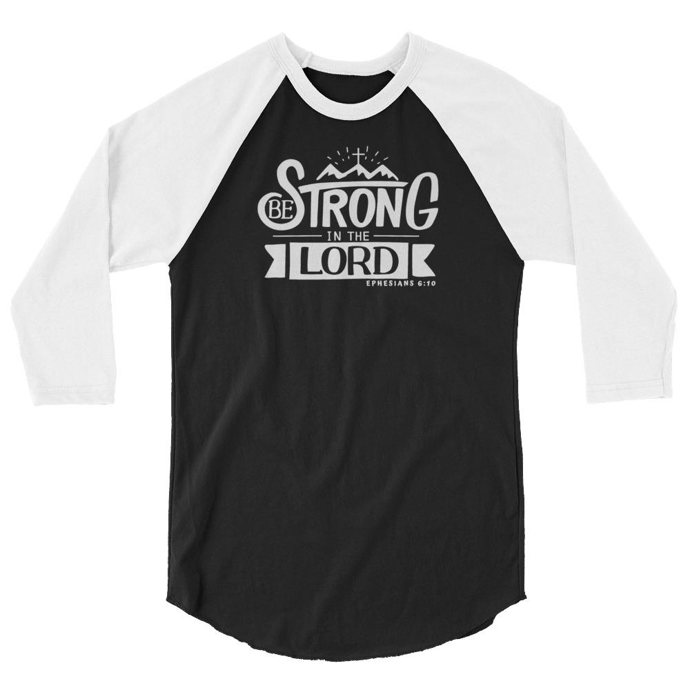 Trini-T - Be Strong In The Lord - Men's Raglan T T-Shirt Trini-T Ministries Black/White XS