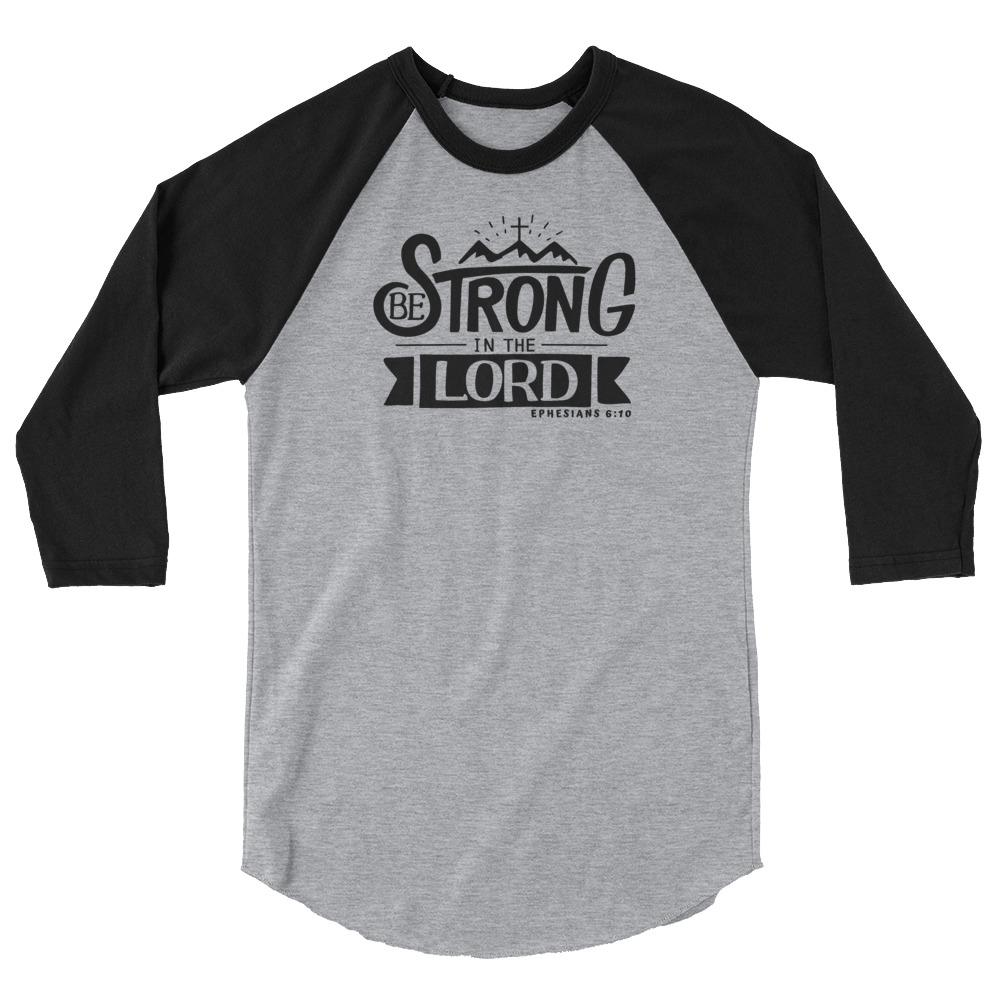 Trini-T - Be Strong In The Lord - Men's Raglan T T-Shirt Trini-T Ministries Heather Grey/Black XS
