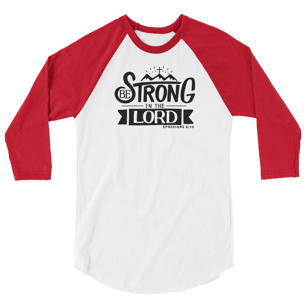 Trini-T - Be Strong In The Lord - Men's Raglan T T-Shirt Trini-T Ministries White/Red XS
