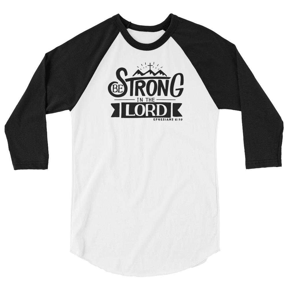 Trini-T - Be Strong In The Lord - Women's Raglan T T-Shirt Trini-T Ministries White/Black XS