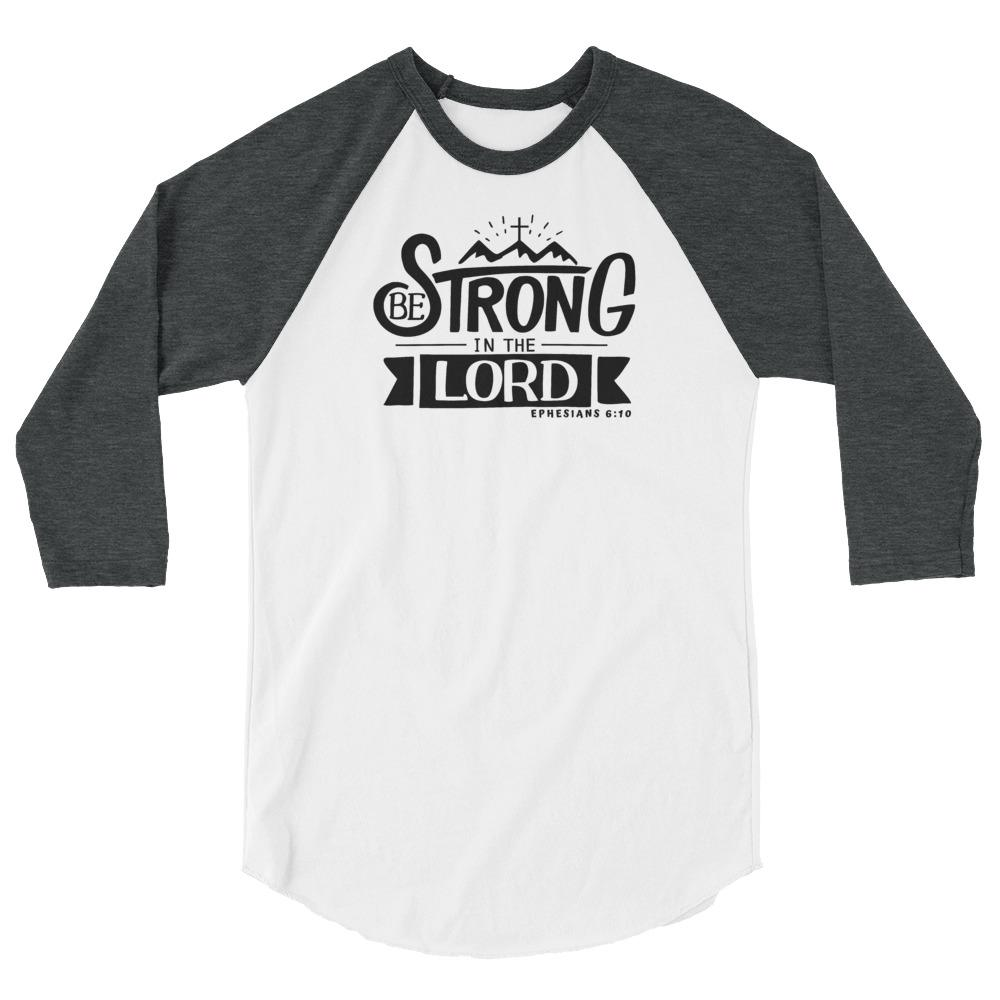 Trini-T - Be Strong In The Lord - Women's Raglan T T-Shirt Trini-T Ministries White/Heather Charcoal XS