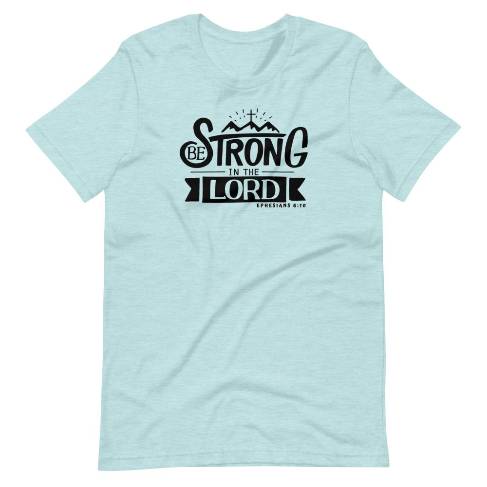 Trini-T - Be Strong In The Lord - Women's T T-Shirt Trini-T Ministries Heather Prism Ice Blue XS
