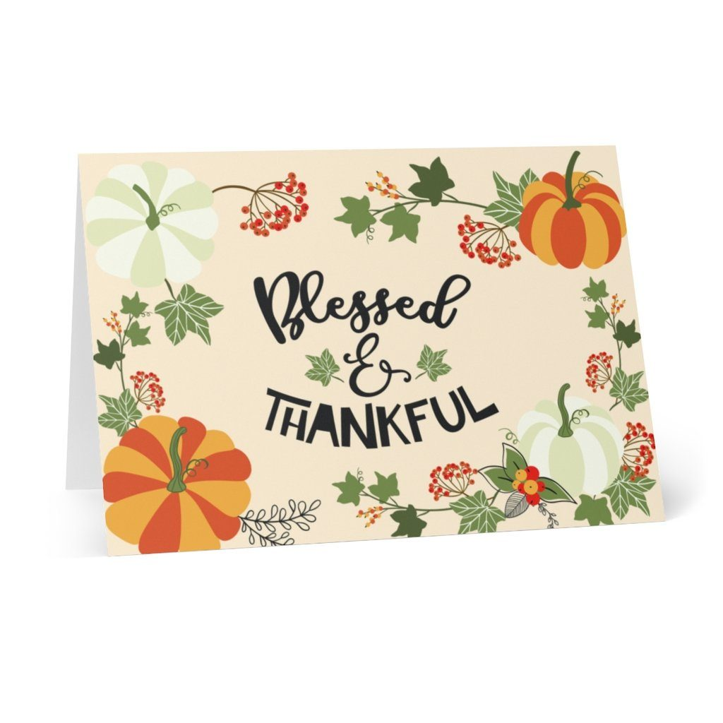 "Trini-T - Blessed & Thankful - Greeting Cards (8 pcs) Paper products Printify 4.1"" x 5.8"""