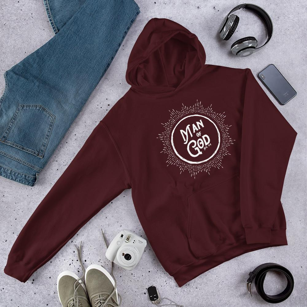 Trini-T - Man of God - Men's Hoodie Athletic Trini-T Ministries Maroon S