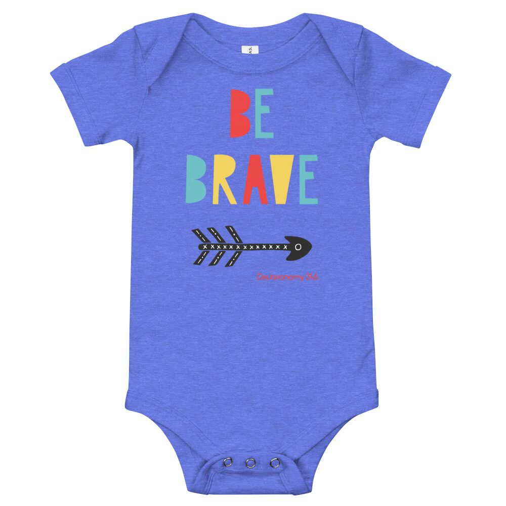 Trini-T Ministries - Be Brave - Baby's One Piece Trini-T Ministries Heather Columbia Blue 3-6m