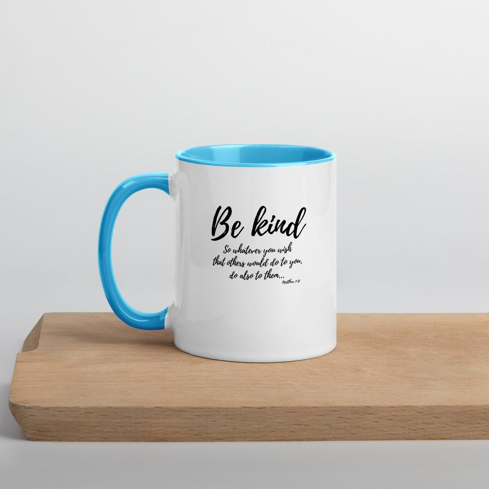 Trini-T Ministries - Be Kind - Mug with Color Inside Mugs Trini-T Ministries Blue