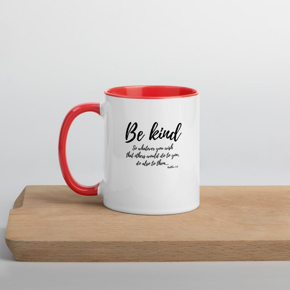 Trini-T Ministries - Be Kind - Mug with Color Inside Mugs Trini-T Ministries Red