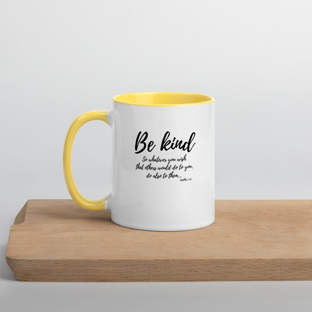 Trini-T Ministries - Be Kind - Mug with Color Inside Mugs Trini-T Ministries Yellow