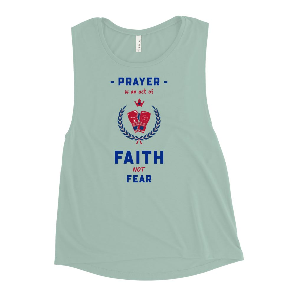 Trini-T Ministries - Faith Not Fear -Ladies' Muscle T Athletic Trini-T Ministries Dusty Blue S