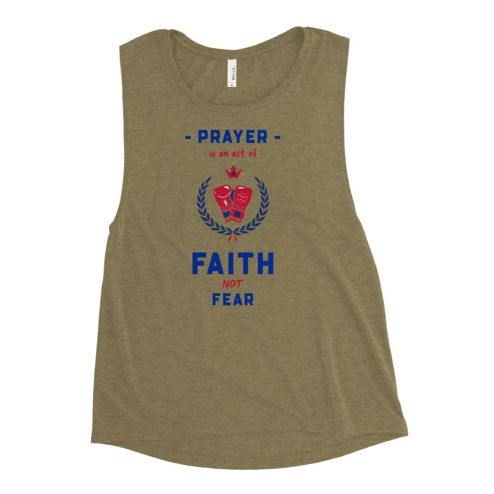 Trini-T Ministries - Faith Not Fear -Ladies' Muscle T Athletic Trini-T Ministries Heather Olive S