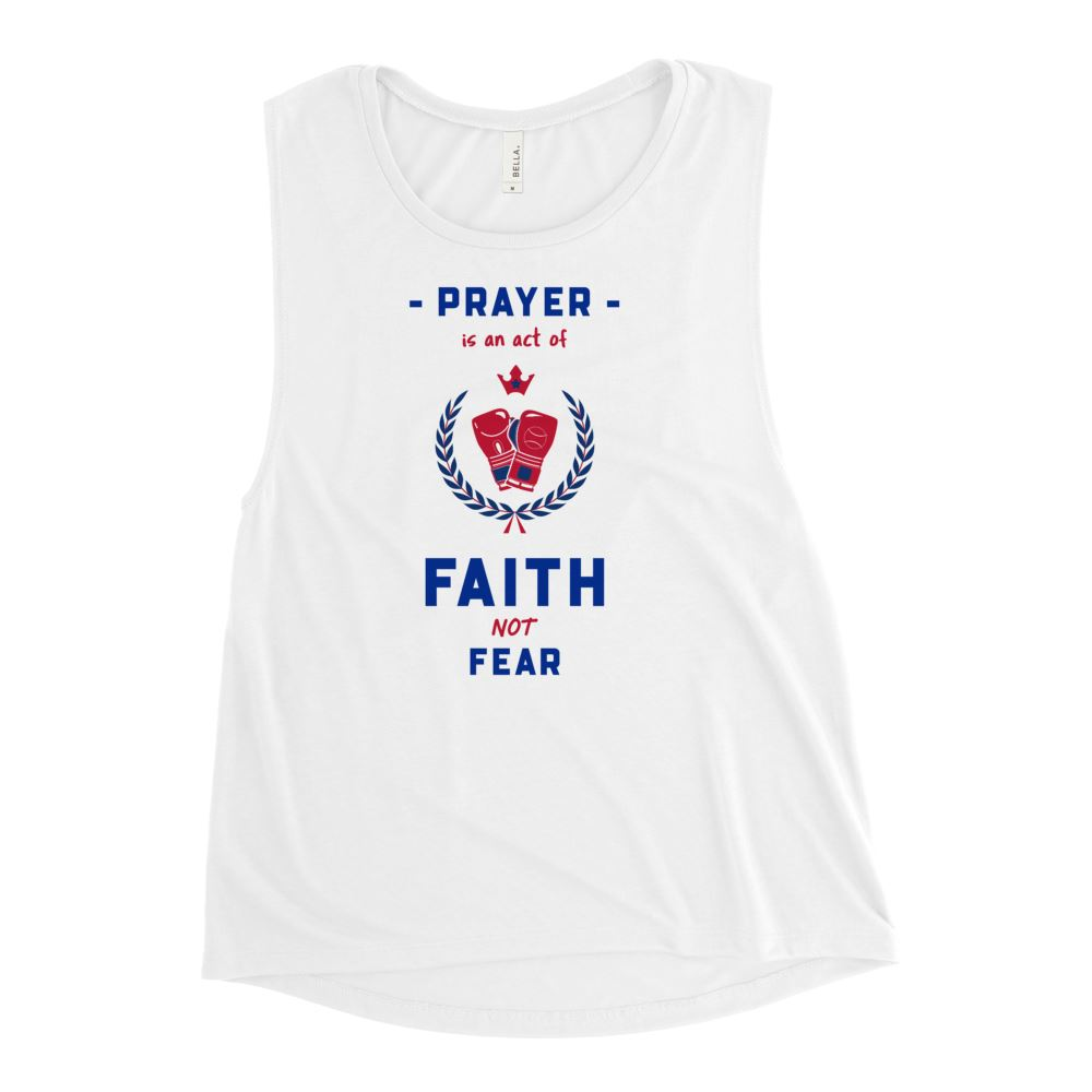 Trini-T Ministries - Faith Not Fear -Ladies' Muscle T Athletic Trini-T Ministries White S