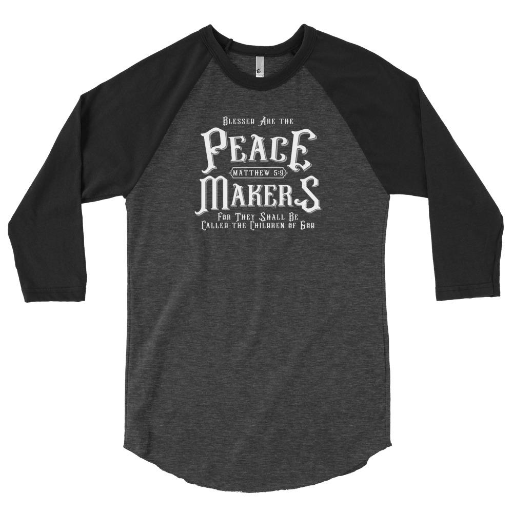 Trini-T - Peace Makers - 3/4 Sleeve Raglan Women's T T-Shirt Trini-T Ministries Heather Black/Black XS