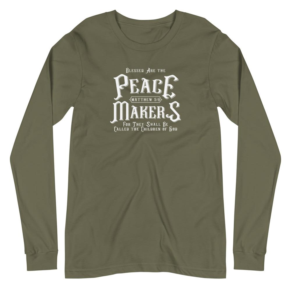 Trini-T - Peace Makers - Men's Long Sleeve T T-Shirt Trini-T Ministries Military Green XS