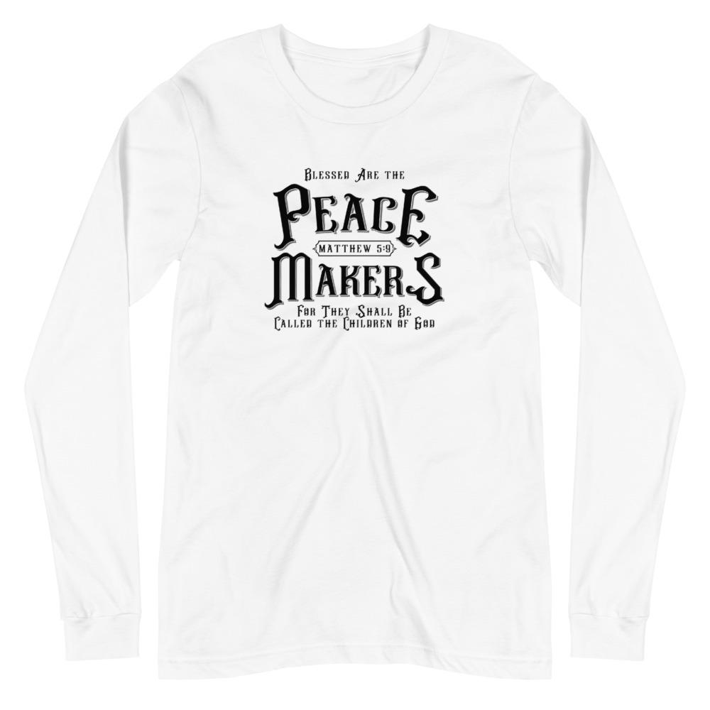 Trini-T - Peace Makers - Men's Long Sleeve T T-Shirt Trini-T Ministries White XS