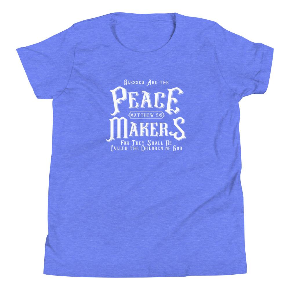Trini-T - Peace Makers - Youth T T-Shirt Trini-T Ministries Heather Columbia Blue S
