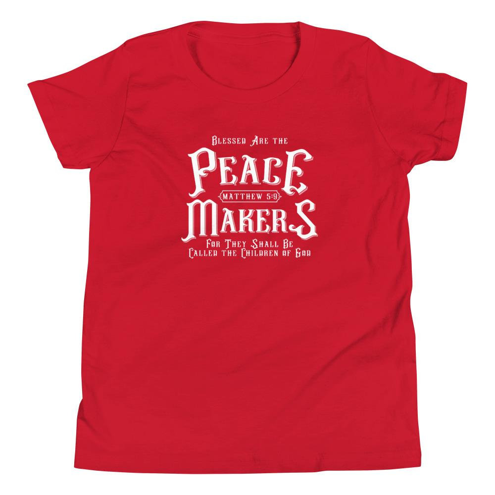 Trini-T - Peace Makers - Youth T T-Shirt Trini-T Ministries Red S