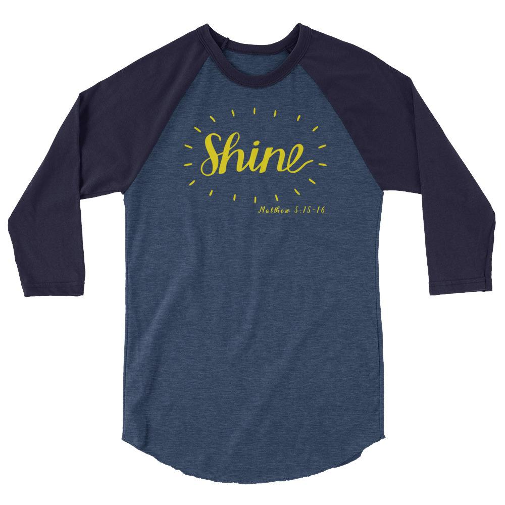 Trini-T - Shine - Men's Raglan T T-Shirt Trini-T Ministries Heather Denim/Navy XS