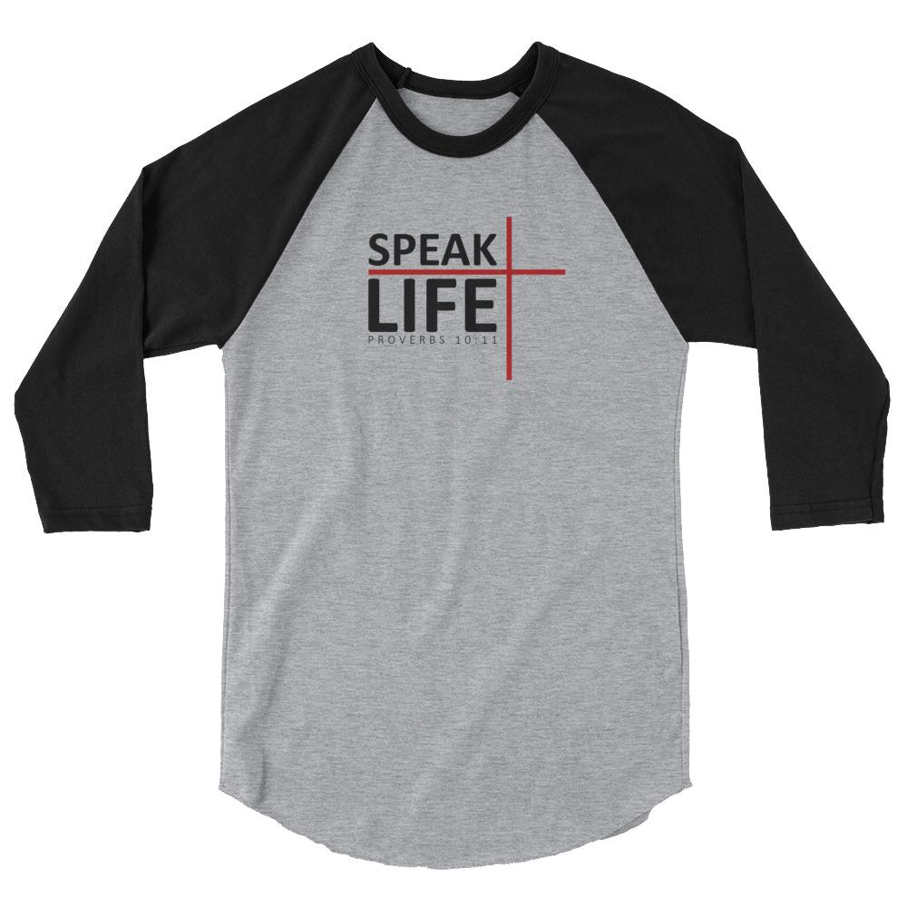 Trini-T - Speak Life - Raglan - Men's T Trini-T Ministries Heather Grey/Black XL