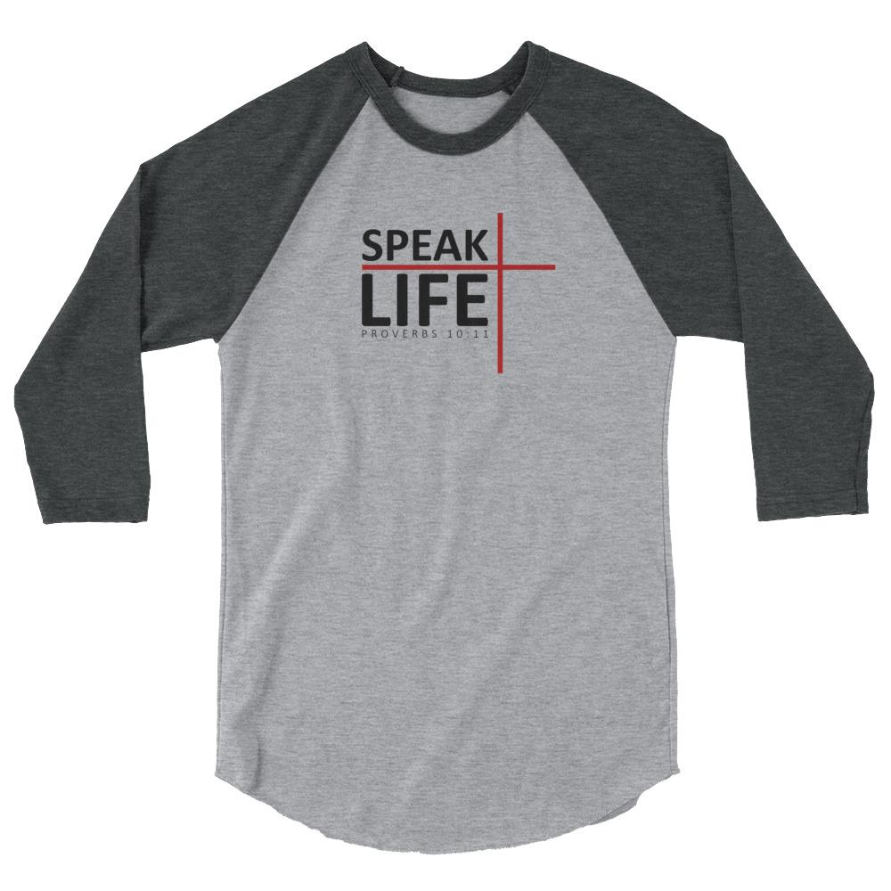 Trini-T - Speak Life - Raglan - Men's T Trini-T Ministries Heather Grey/Heather Charcoal XS