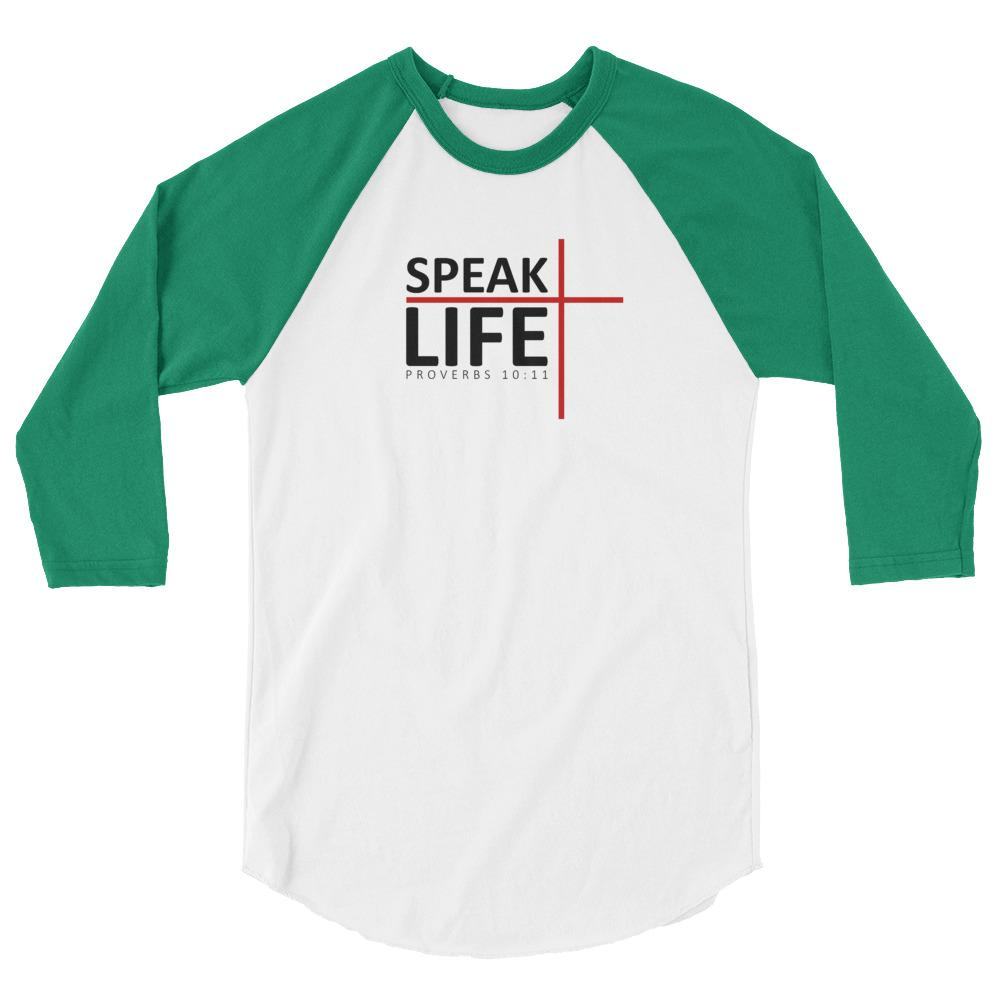 Trini-T - Speak Life - Raglan - Men's T Trini-T Ministries White/Kelly XS