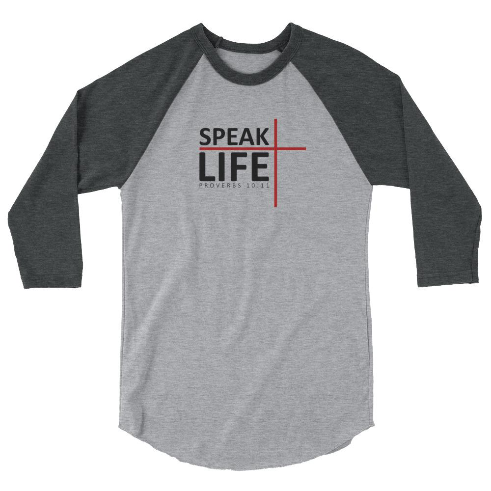 Trini-T - Speak Life - Raglan - Women's T T-Shirt Trini-T Ministries Heather Grey/Heather Charcoal XS