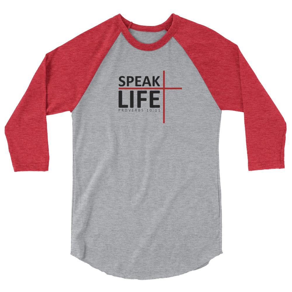 Trini-T - Speak Life - Raglan - Women's T T-Shirt Trini-T Ministries Heather Grey/Heather Red S