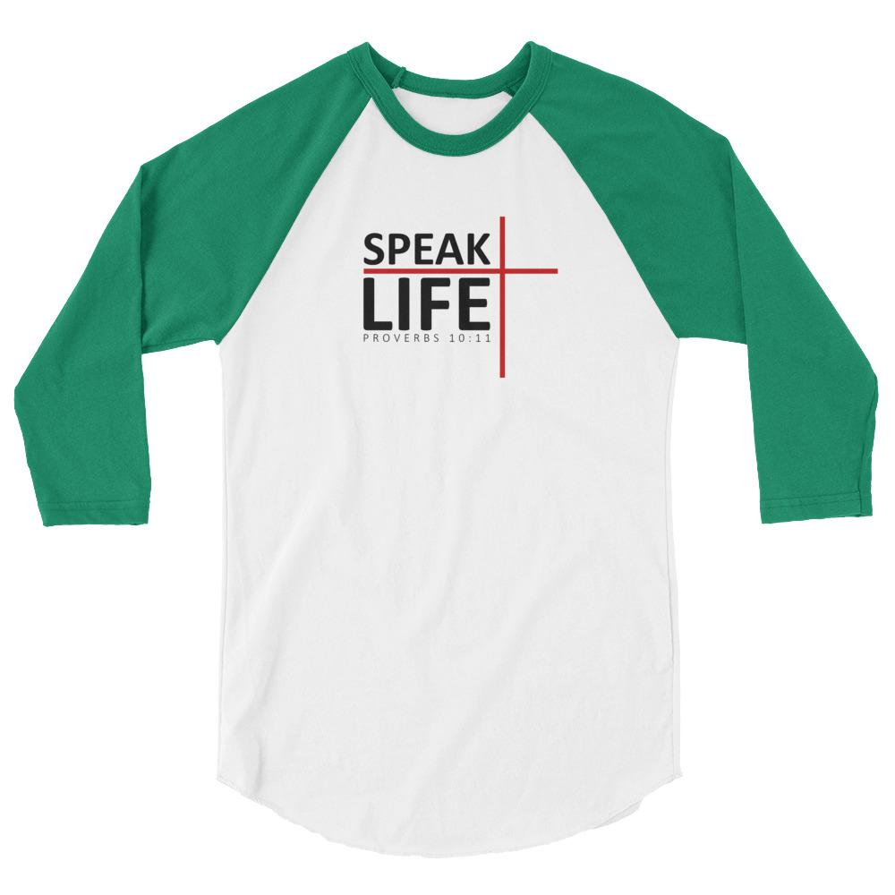 Trini-T - Speak Life - Raglan - Women's T T-Shirt Trini-T Ministries White/Kelly XS