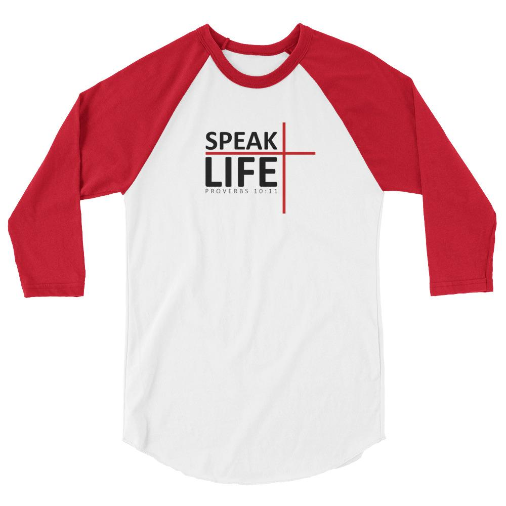 Trini-T - Speak Life - Raglan - Women's T T-Shirt Trini-T Ministries White/Red XS