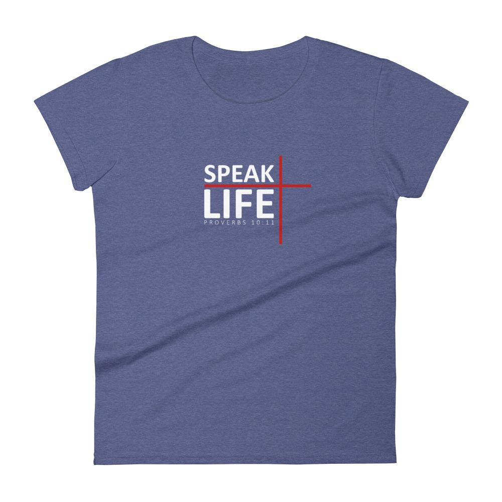Trini-T - Speak Life - Women's T T-Shirt Trini-T Ministries Heather Blue S