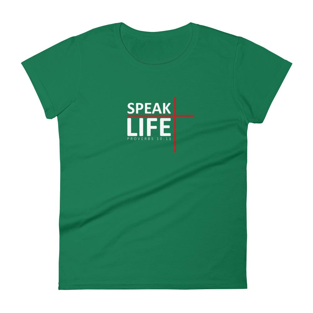 Trini-T - Speak Life - Women's T T-Shirt Trini-T Ministries Kelly Green S