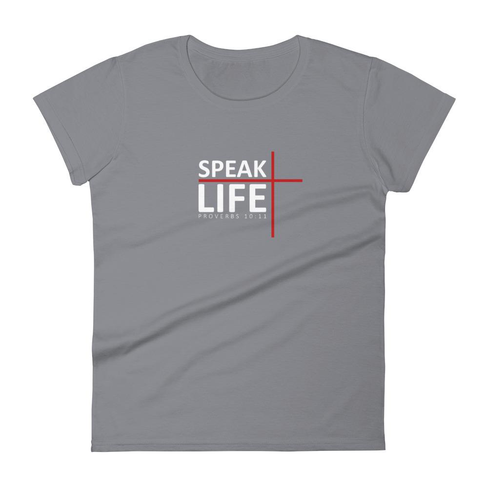 Trini-T - Speak Life - Women's T T-Shirt Trini-T Ministries Storm Grey S
