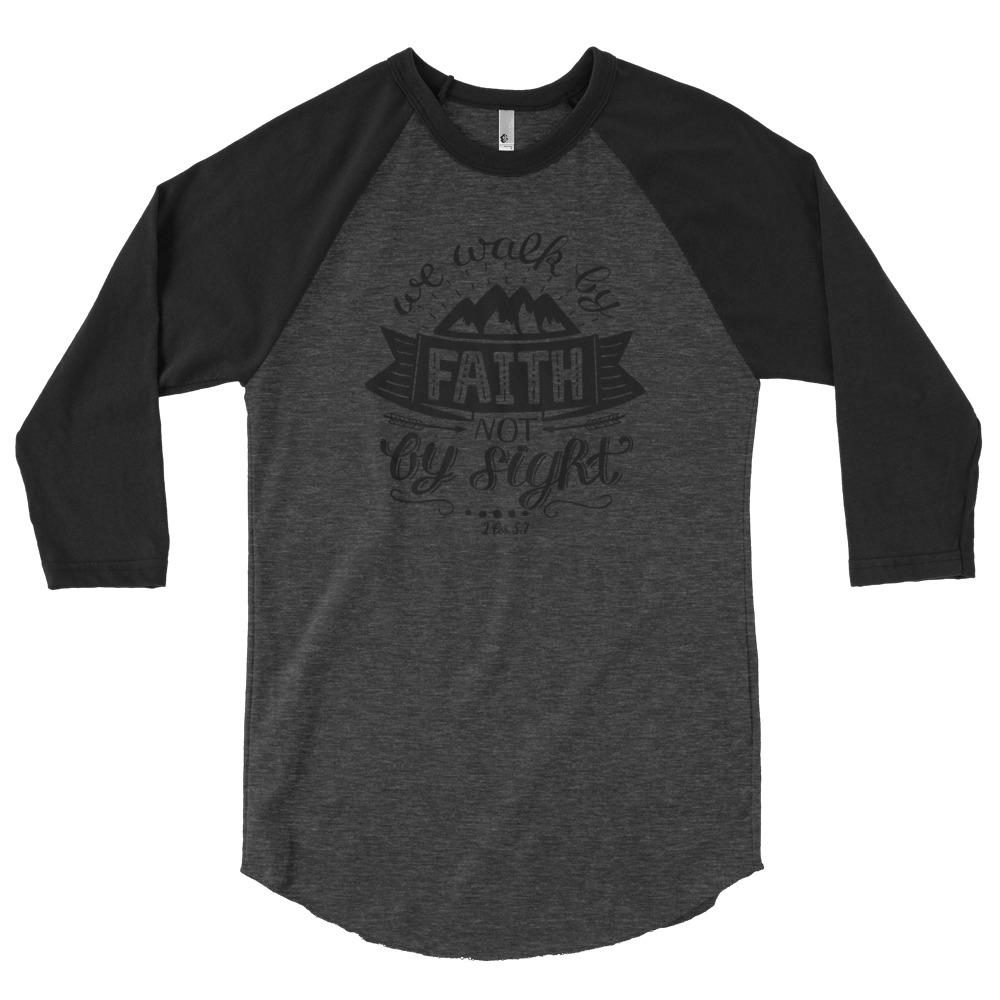Trini-T - Walk By Faith - 3/4 Sleeve Raglan T Trini-T Ministries Heather Black/Black XS