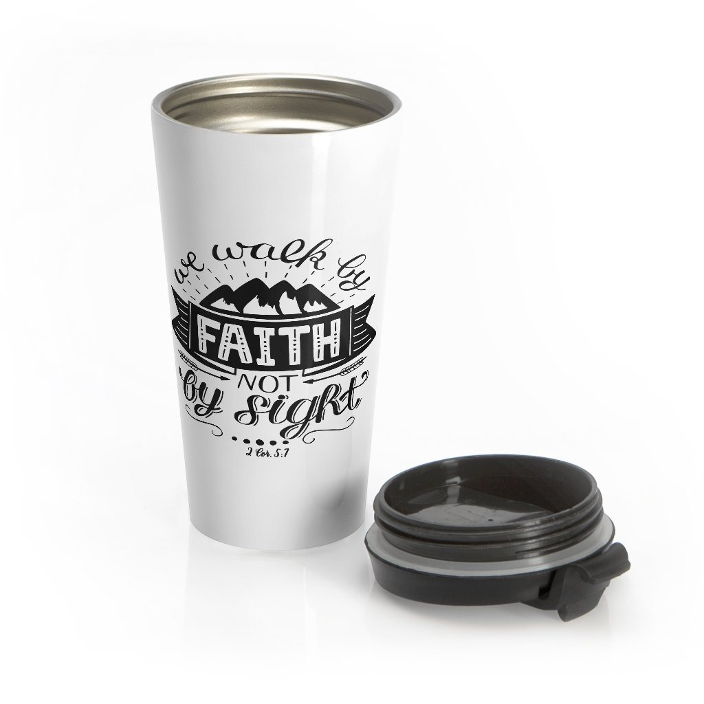 Trini-T - Walk By Faith - Stainless Steel Travel Mug Mug Printify