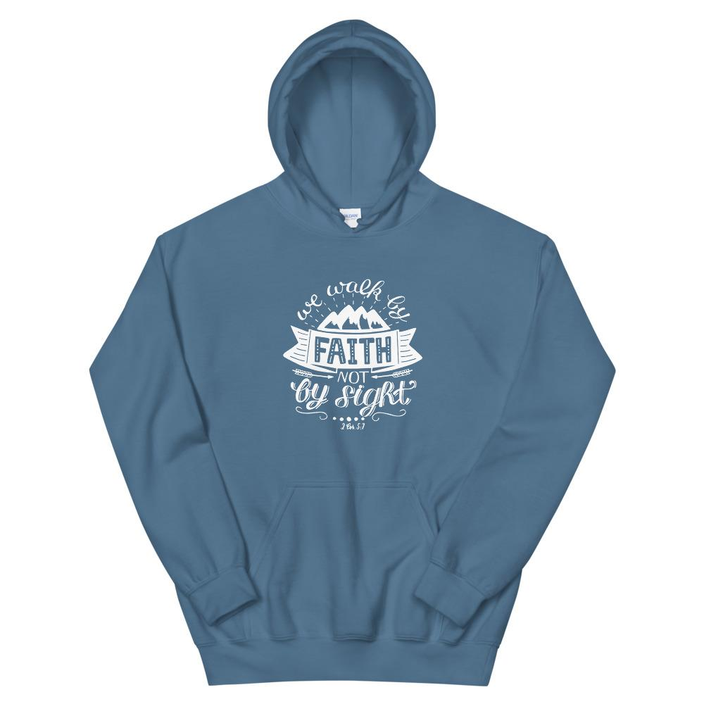 Trini-T - Walk By Faith - Unisex Hoodie Trini-T Ministries Indigo Blue S