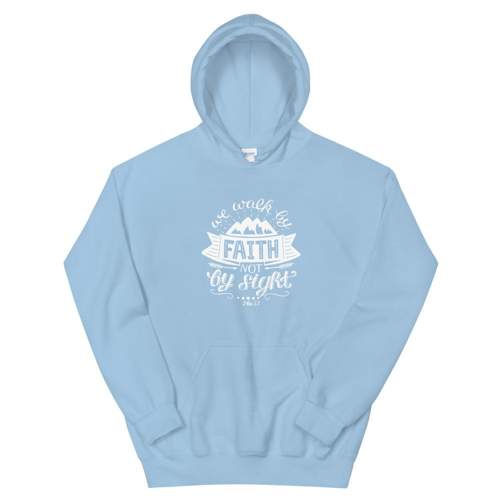 Trini-T - Walk By Faith - Unisex Hoodie Trini-T Ministries Light Blue S
