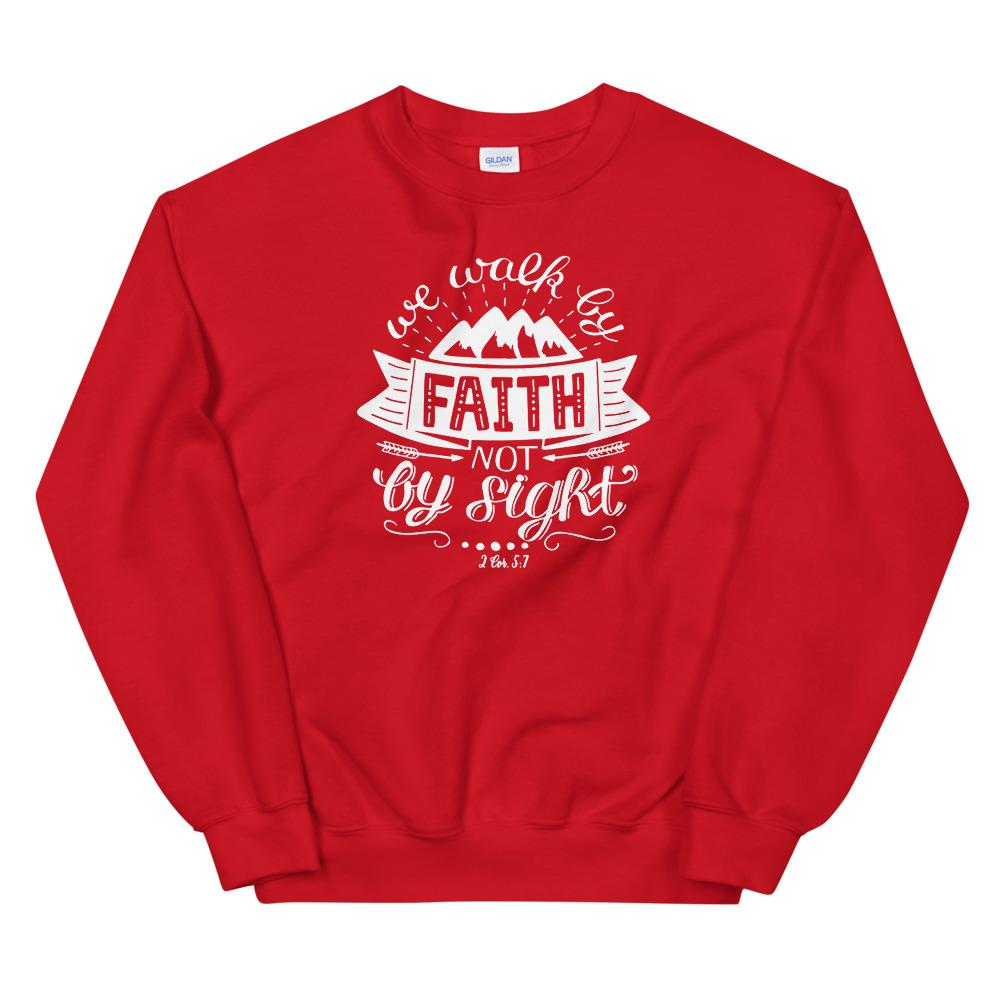 Trini-T - Walk By Faith - Unisex Sweatshirt Trini-T Ministries Red S