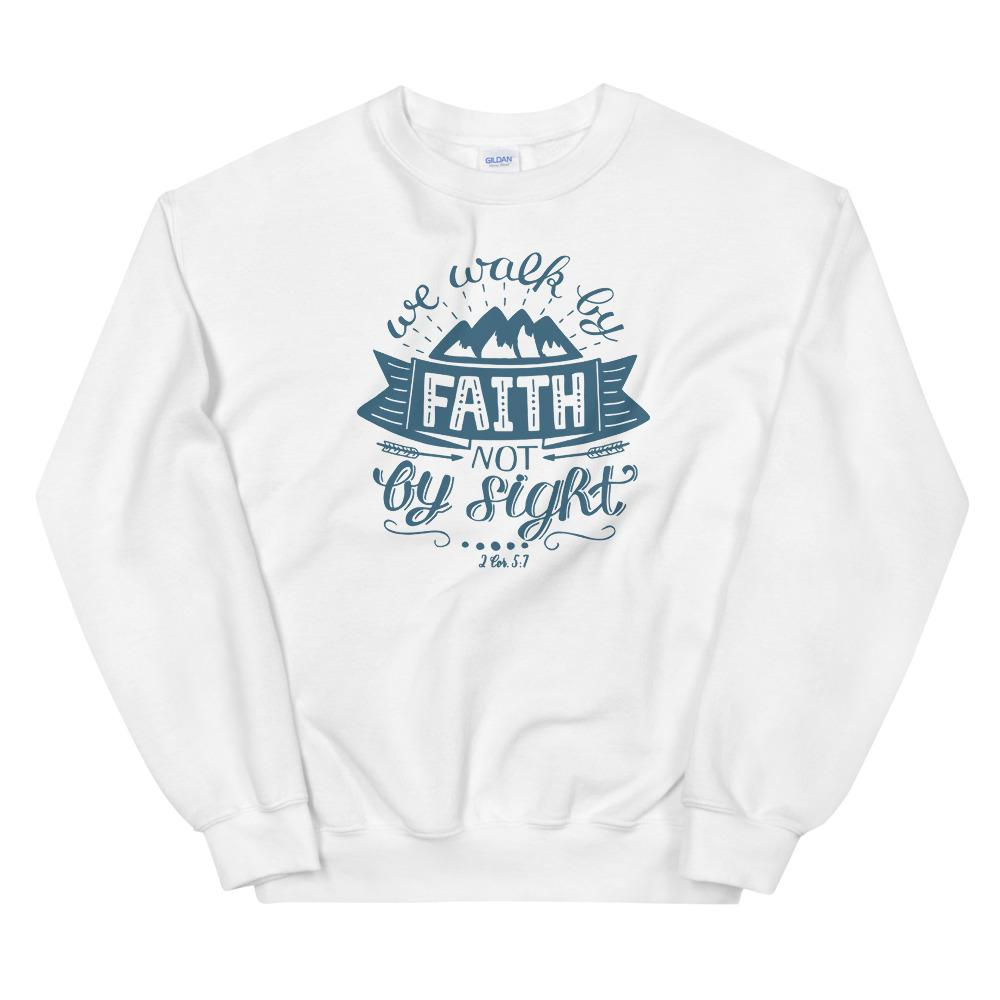 Trini-T - Walk By Faith - Unisex Sweatshirt Trini-T Ministries White S