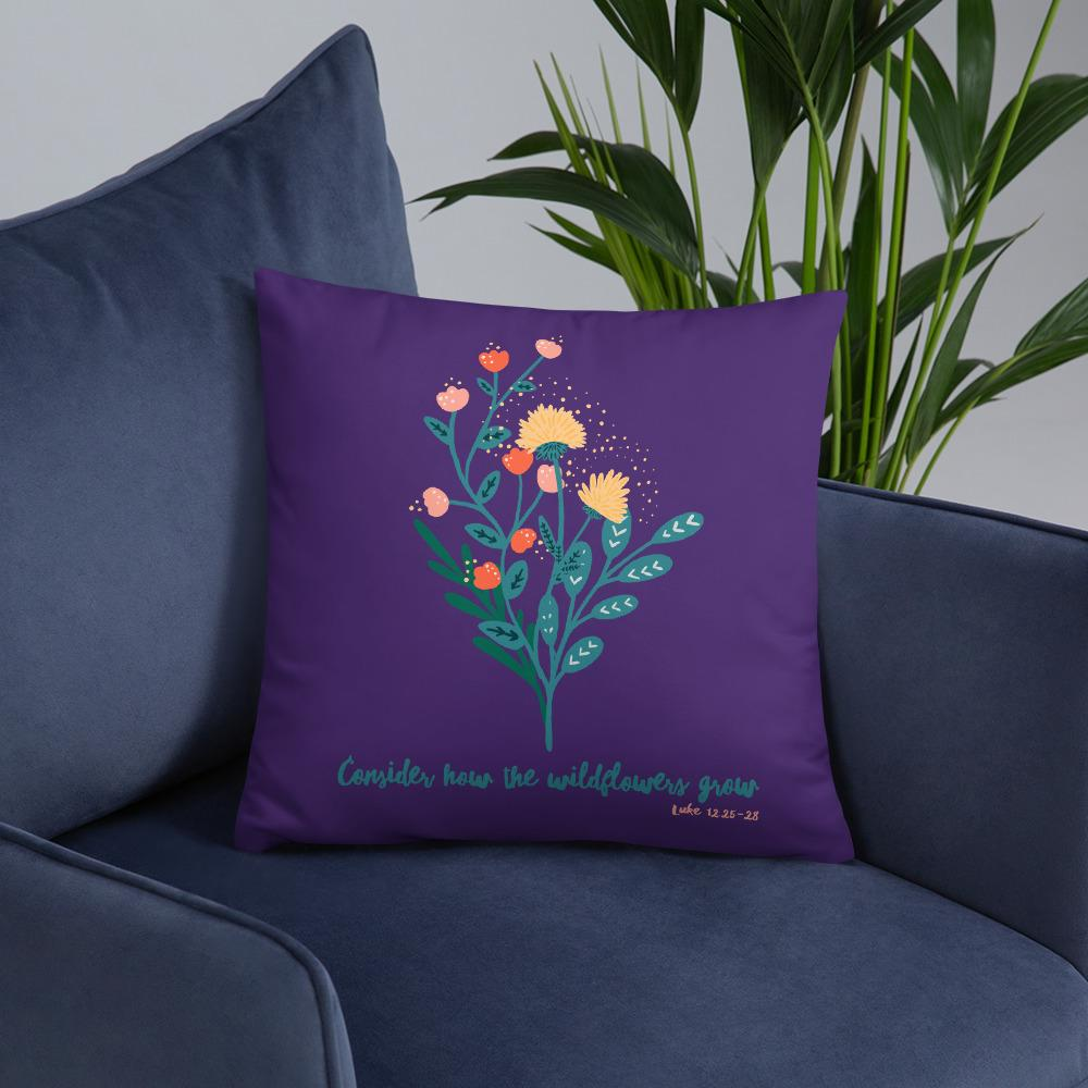 Trini-T Wildflowers - Purple - Pillow Trini-T Ministries 18×18