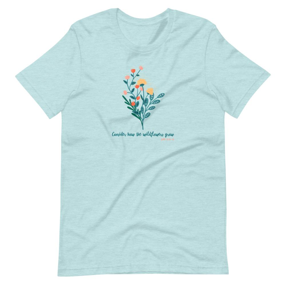 Trini-T - Wildflowers - Women's T T-Shirt Trini-T Ministries Heather Prism Ice Blue XS
