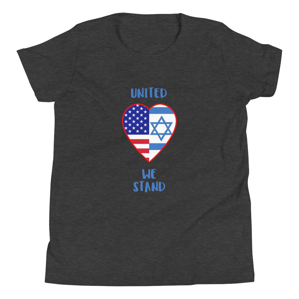 United We Stand - Israel + USA - Youth US Trini-T Ministry Dark Grey Heather S