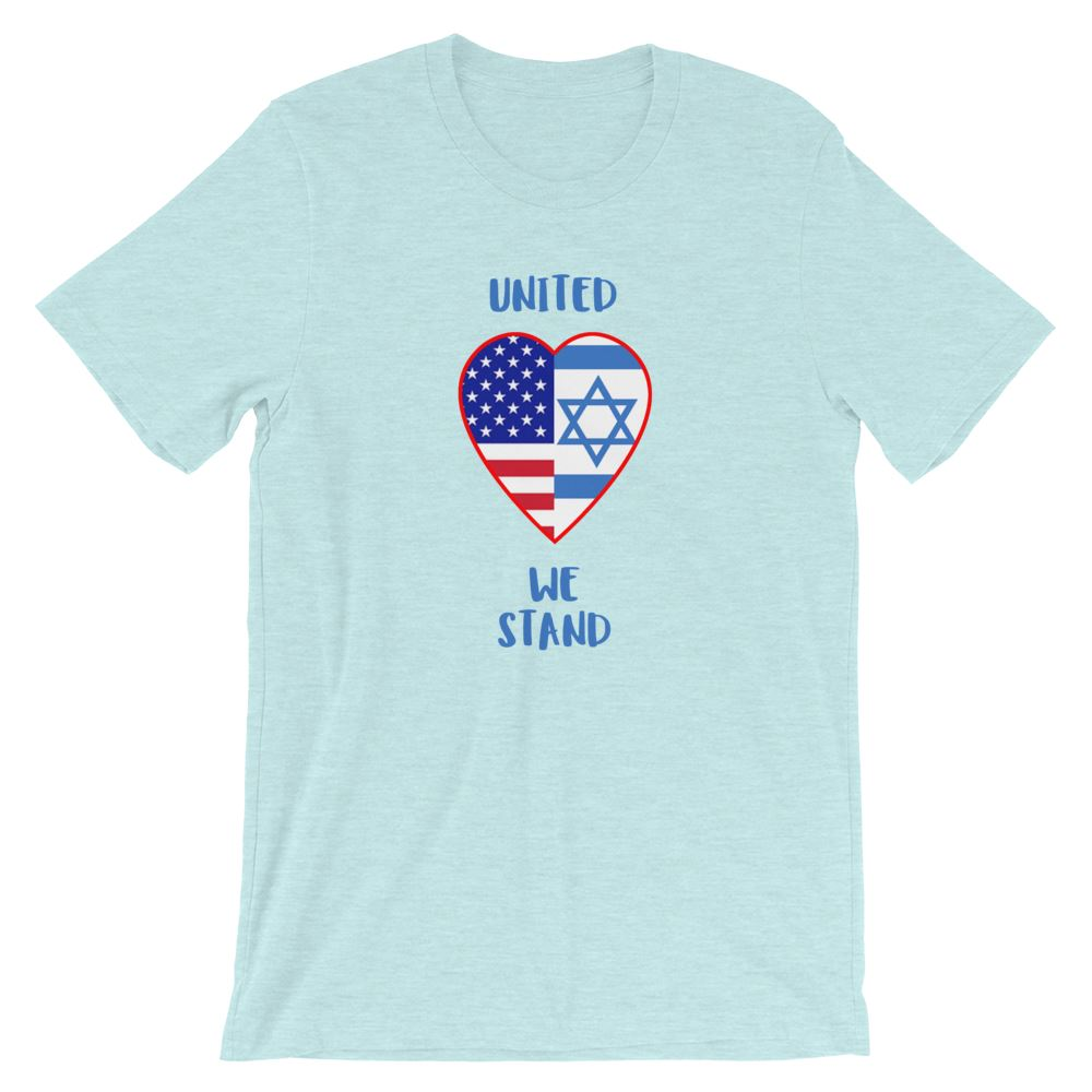 United We Stand Israel+USA - Women's T Trini-T Ministry Heather Prism Ice Blue XS