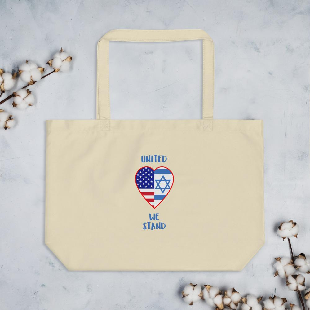 United We Stand - USA+ Israel - Large organic tote bag Bags Trini-T Ministries