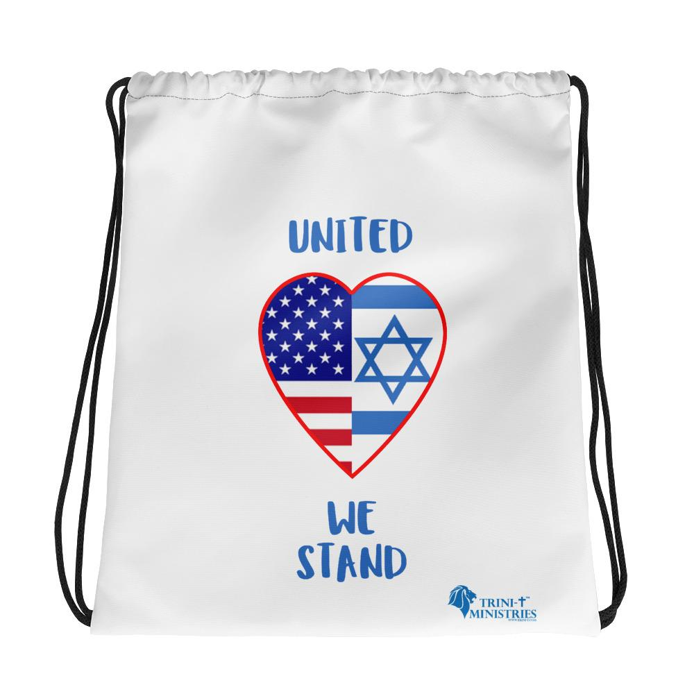 United We Stand - USA+Israel Drawstring Bag Bags Trini-T Ministries