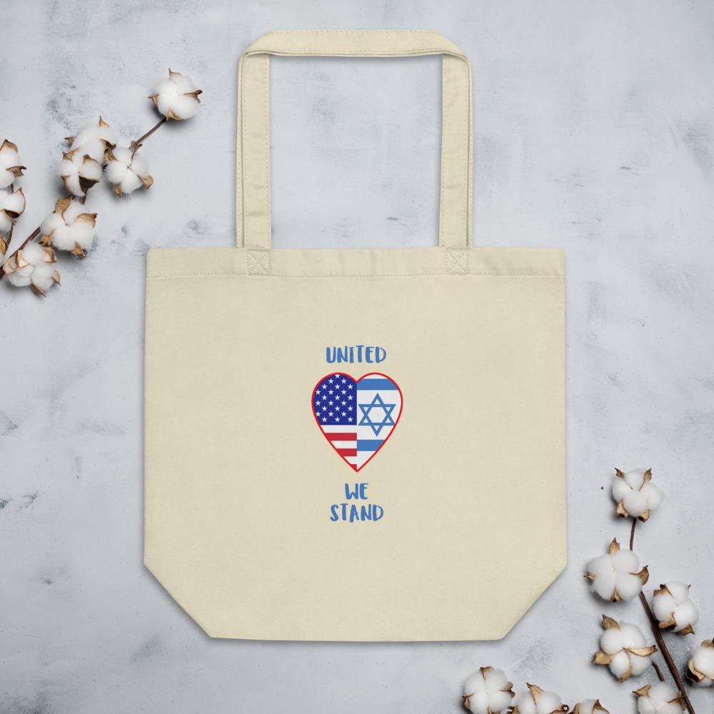 United We Stand - USA+Israel Eco Tote Bag Bags Trini-T Ministries