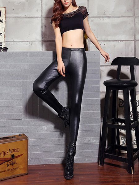 variety of designs and colors clearance prices online here Black Stretchy Faux Leather Leggings Female Plus Size Trousers