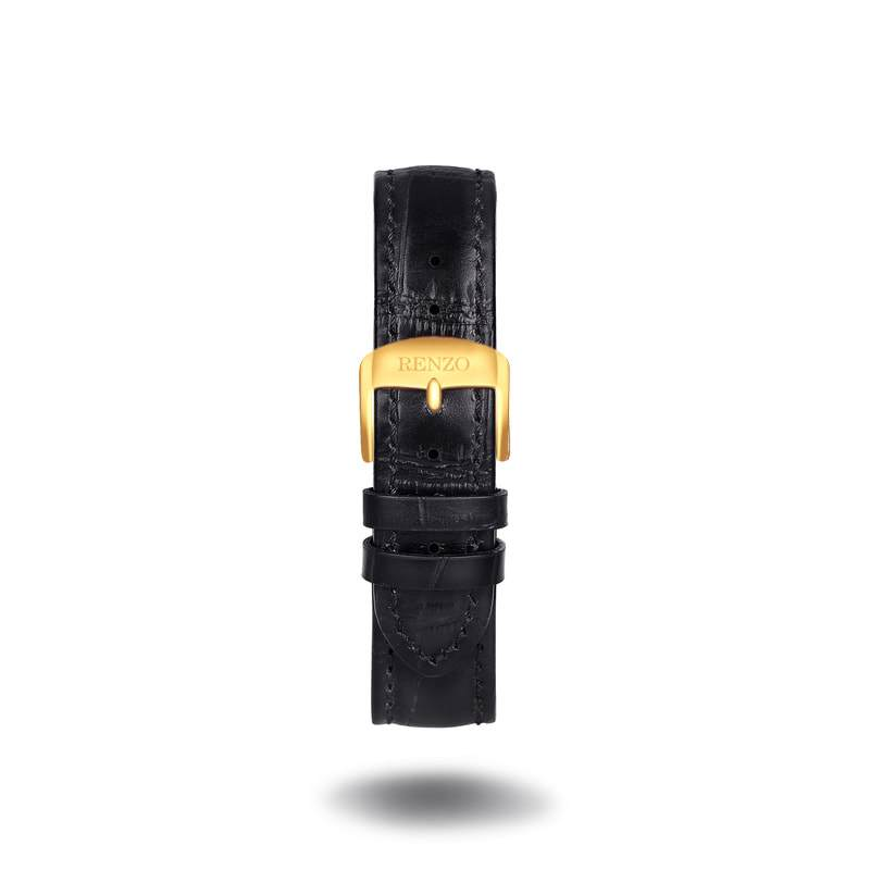 Strap - Croco Black Gold Strap