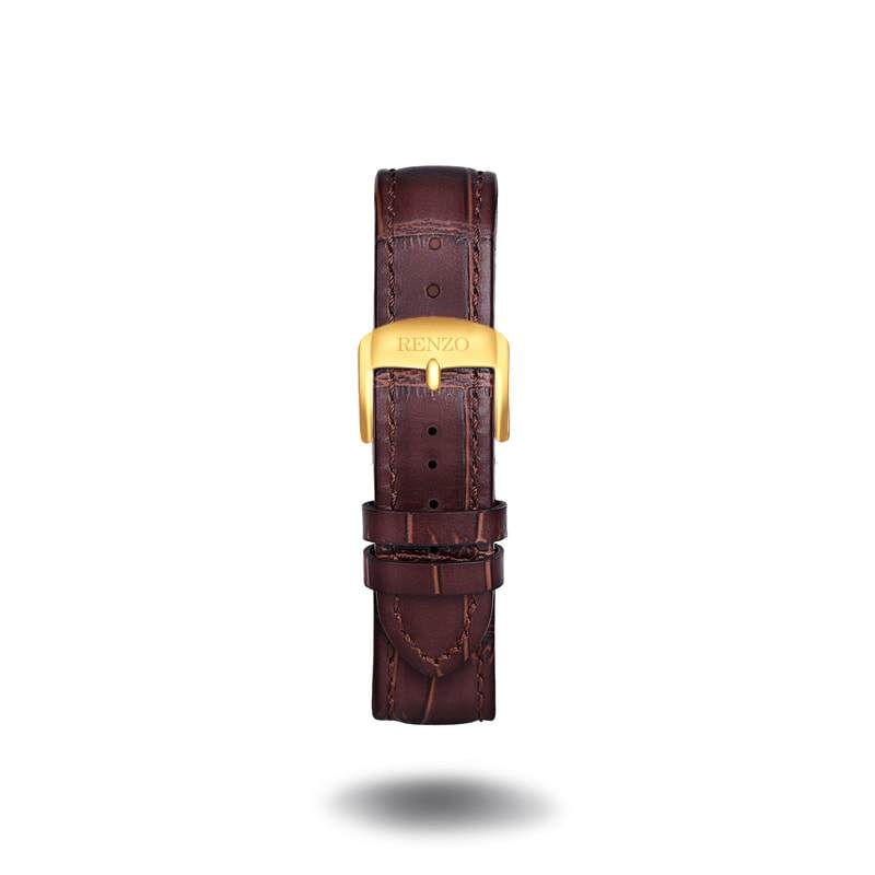 Strap - Croco Brown Gold Strap